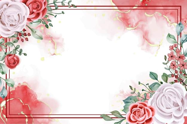 Fundo elegante com arranjo floral de rosa branca