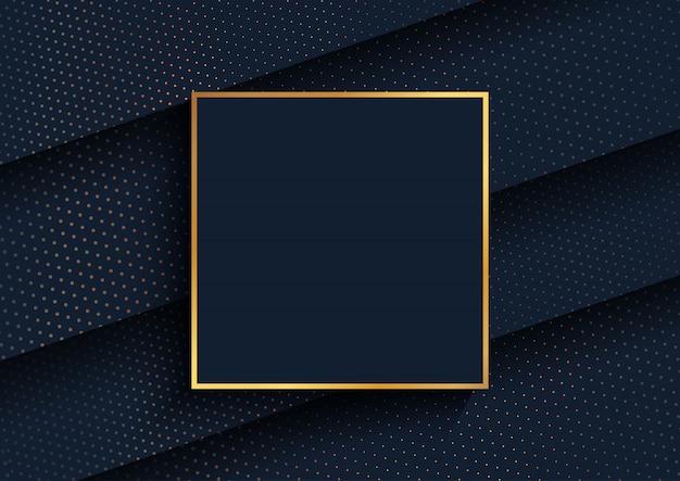 Fundo elegante com design de pontos de meio-tom dourado e moldura de ouro