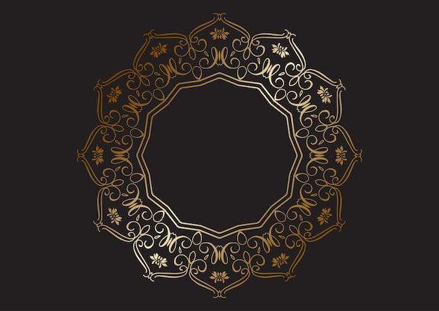 Fundo elegante com design decorativo de moldura dourada