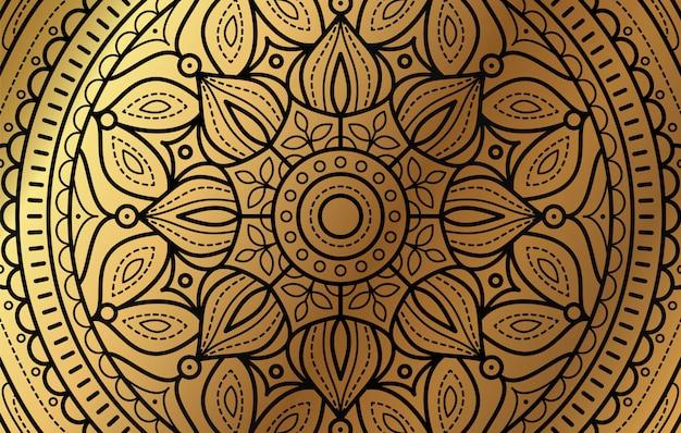 Fundo elegante com fundo da linha de ouro padrão floral de luxo