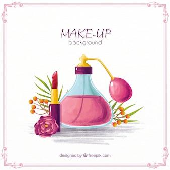 Fundo elegante com maquiagem aquarela