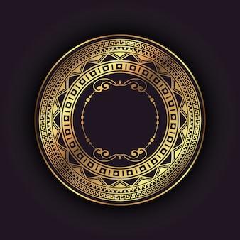 Fundo elegante com moldura circular de ouro