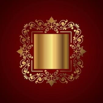 Fundo elegante com moldura decorativa de ouro