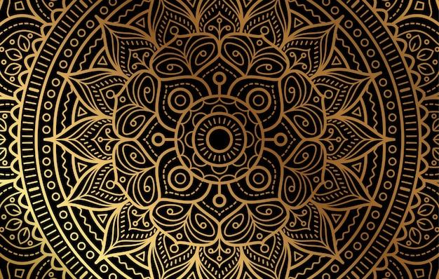 Fundo elegante com padrão floral de luxo ouro