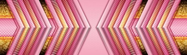 Fundo elegante com papel rosa e roxo e decoração com luz dourada