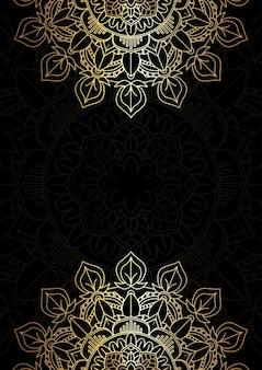 Fundo elegante com um desenho decorativo de mandala em ouro e preto