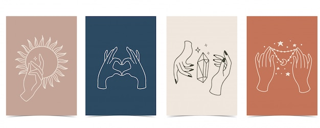 Fundo elegante conjunto com mão, cristal, lua, estrela, coração.