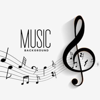 Fundo elegante de acordes de música de notas musicais