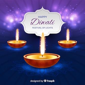 Fundo elegante de diwali com design realista