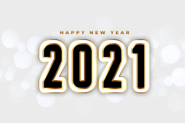 Fundo elegante de feliz ano novo branco e dourado de 2021