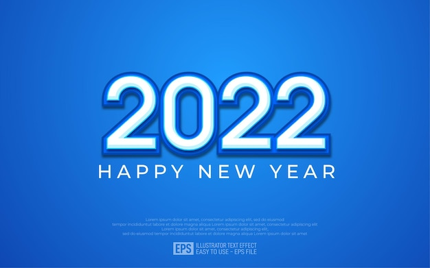 Fundo elegante de feliz ano novo de 2022 com fundo azul