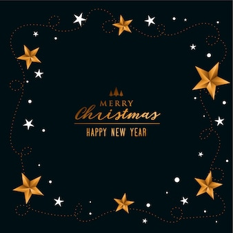 Fundo elegante de feliz natal com decoração de estrelas douradas