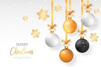 Fundo elegante de Natal com bolas de Natal elegante