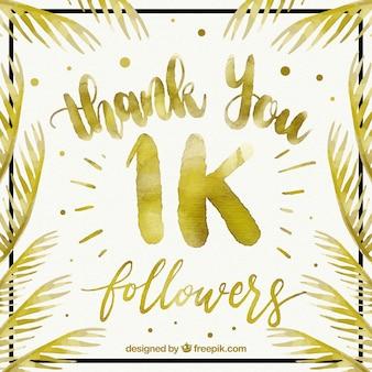 Fundo elegante de seguidores de 1k com folhas douradas de aguarela