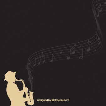 Fundo elegante de silhueta saxofonista