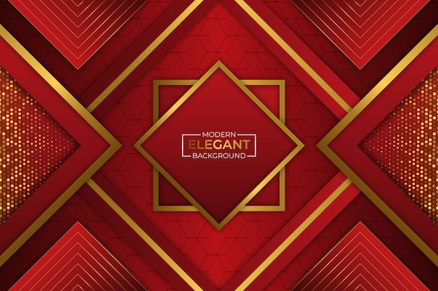 Fundo elegante moderno vermelho e dourado com brilho