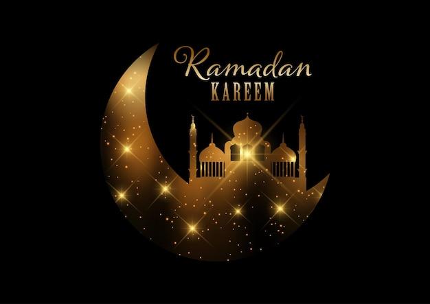 Fundo elegante ramadan kareem com luzes douradas e design de estrelas