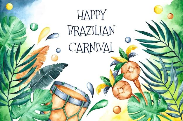 Fundo em aquarela de carnaval brasileiro