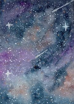 Fundo em aquarela de céu estrelado