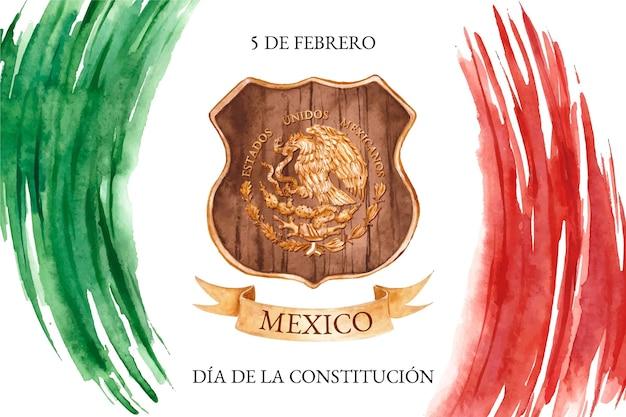 Fundo em aquarela de dia de constituição com bandeira mexicana