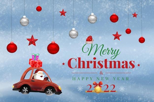 Fundo em aquarela de feliz natal e feliz ano novo com o papai noel