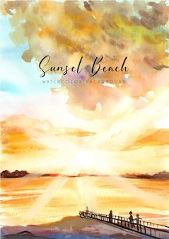 Fundo em aquarela de sunset beach e beach pier