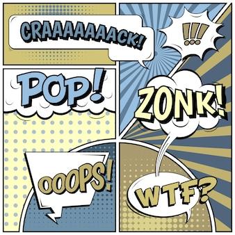 Fundo em branco de estilo pop art em quadrinhos.