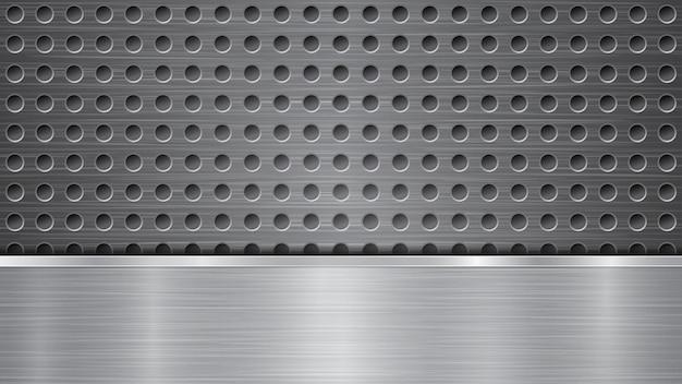 Fundo em cores prateadas, constituído por superfície metálica com furos e chapa polida horizontal