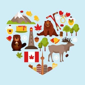 Fundo em forma de coração com elementos canadense