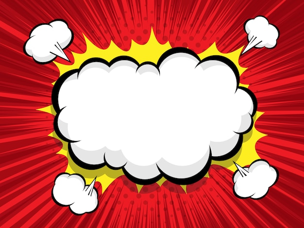 Fundo em quadrinhos com balão em branco boom