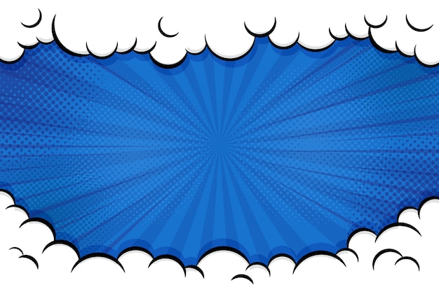 Fundo em quadrinhos da arte pop. com nuvem e brilho brilhante ilustração vetorial.