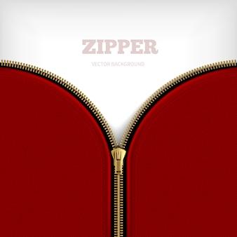 Fundo em zíper em branco com zíper meio metálico aberto dourado com rebordo preto costurado