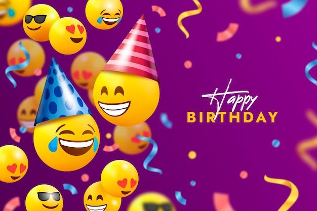 Fundo emoji de feliz aniversário