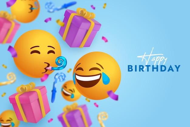 Fundo emoji realista de feliz aniversário
