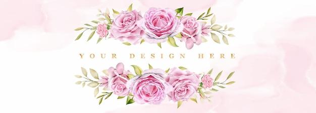 Fundo emoldurado com rosas em aquarela