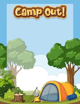 Fundo emoldurado com tema de acampamento
