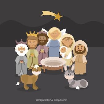Fundo encantador de personagens da cena da natividade