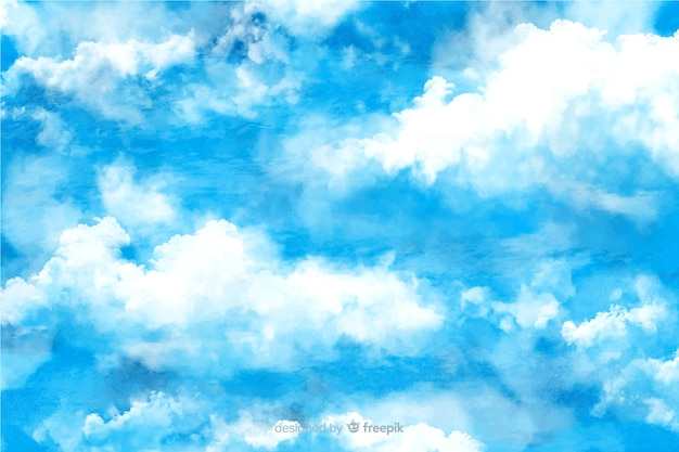 Fundo encantador nuvens em aquarela