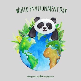 Fundo, encantador, panda, mundo, meio ambiente, dia