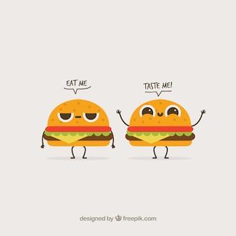 Fundo engraçado com dois caráteres do hamburguer
