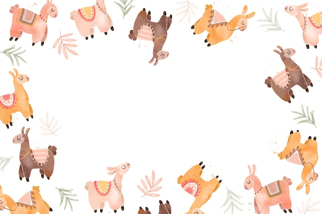 Fundo engraçado de alpaca desenhado à mão