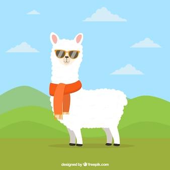 Fundo engraçado de alpaca