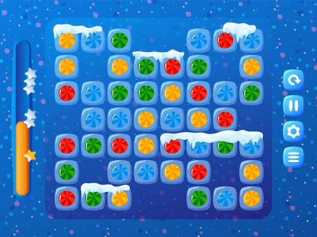 Fundo engraçado do jogo de doces de inverno
