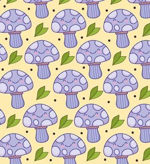 Fundo engraçado dos desenhos animados de cogumelos fofos