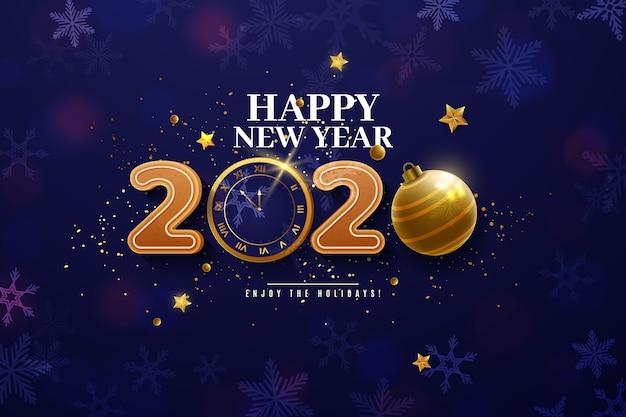 Fundo engraçado realista do ano novo 2020