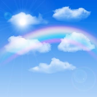Fundo ensolarado, céu azul com nuvens brancas e arco-íris