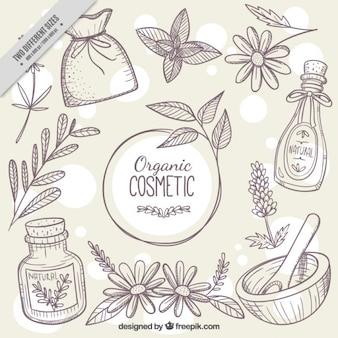 Fundo esboços de cosméticos naturais