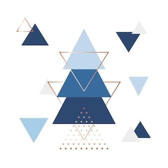 Fundo escandinavo minimalista em forma de triângulos azuis