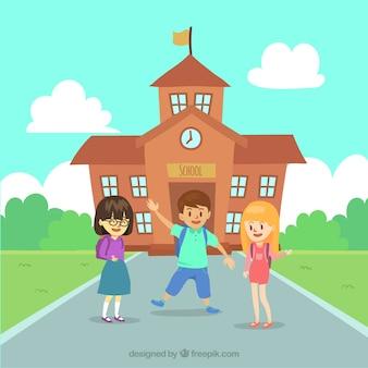 Fundo escolar com crianças