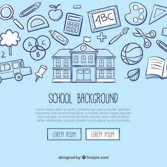 Fundo escolar em estilo desenhado à mão